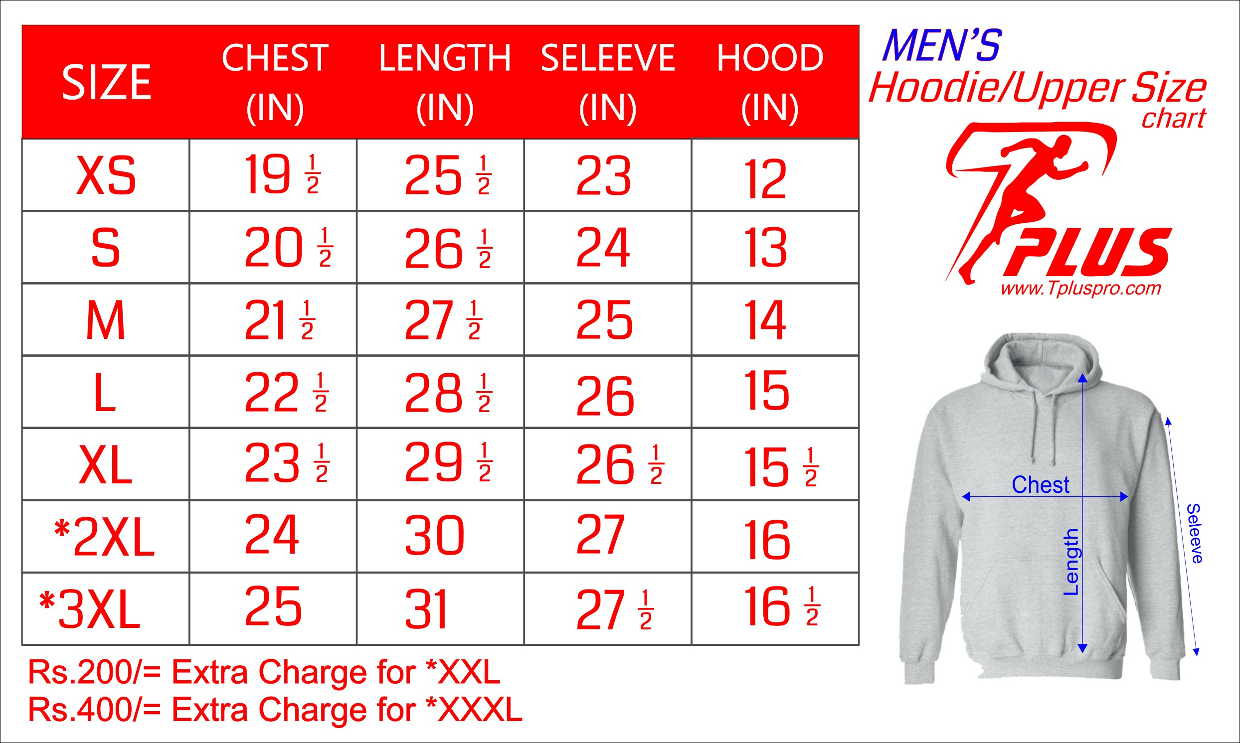 Upper & Hoodie Size Chart